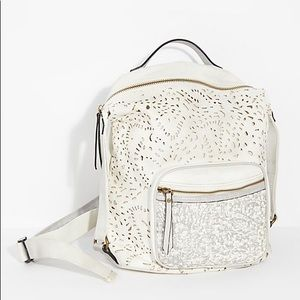 FREE PEOPLE ABBEY VEGAN LEATHER BACKPACK WHITE